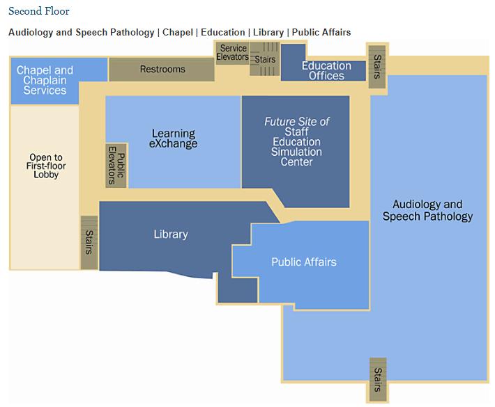 University Drive Facility Second Floor Map