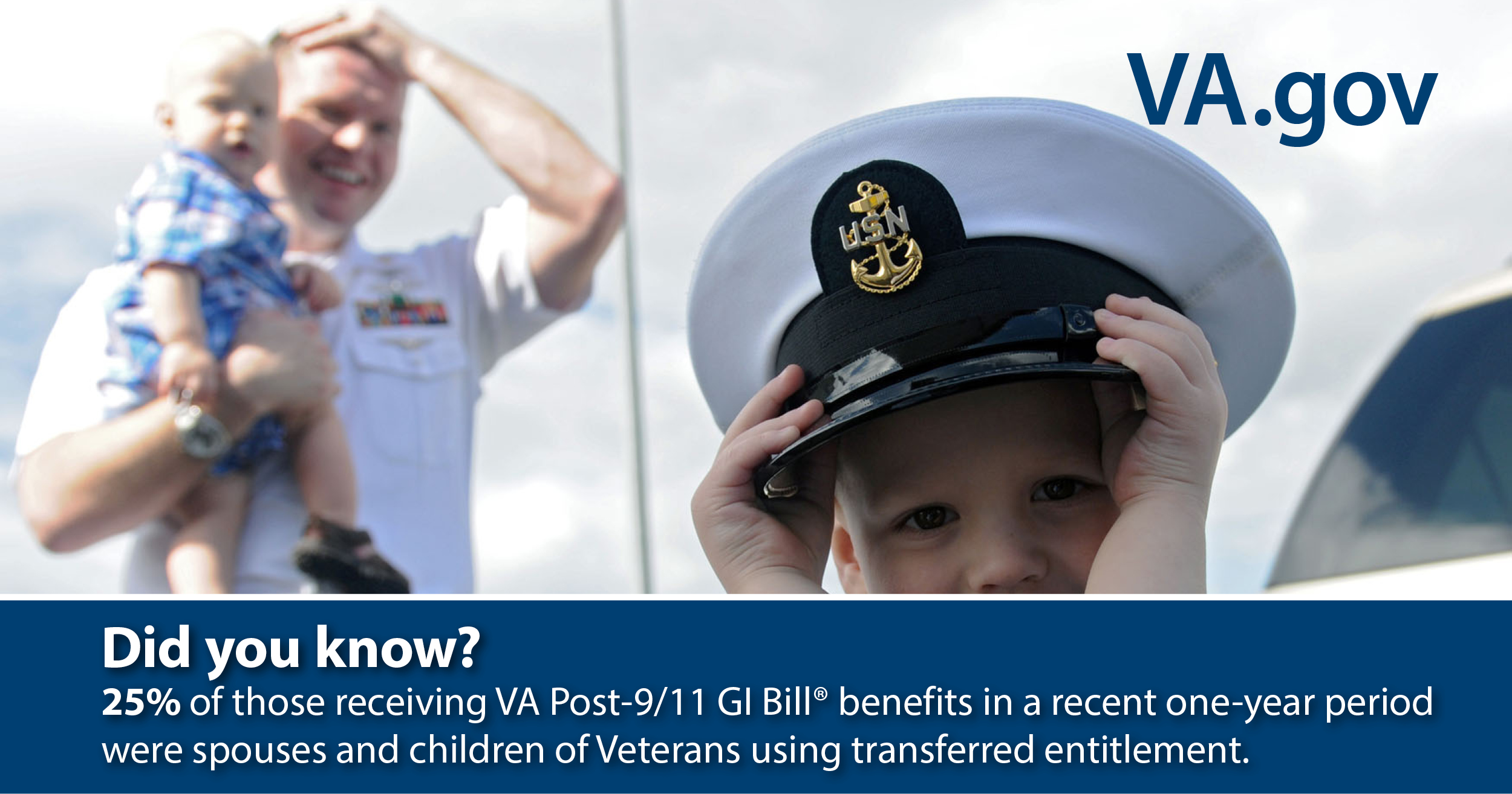 Did you know? 25% of those receiving VA Post-9/11 GI Bill benefits in a recent on-year period were spouses and children of Veterans using transferred entitlement.