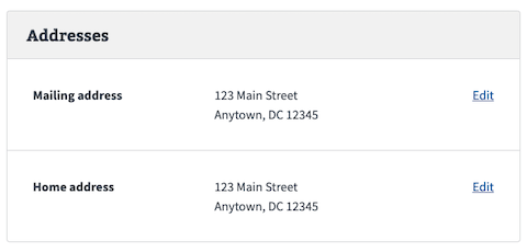 VA.gov profile addresses