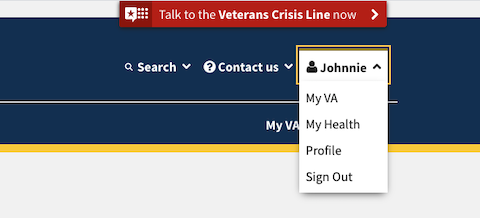 VA.gov profile menu