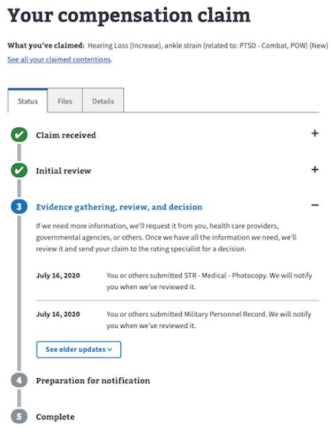 Screenshot of claim and appeals status tool. Detail screen, status tab.