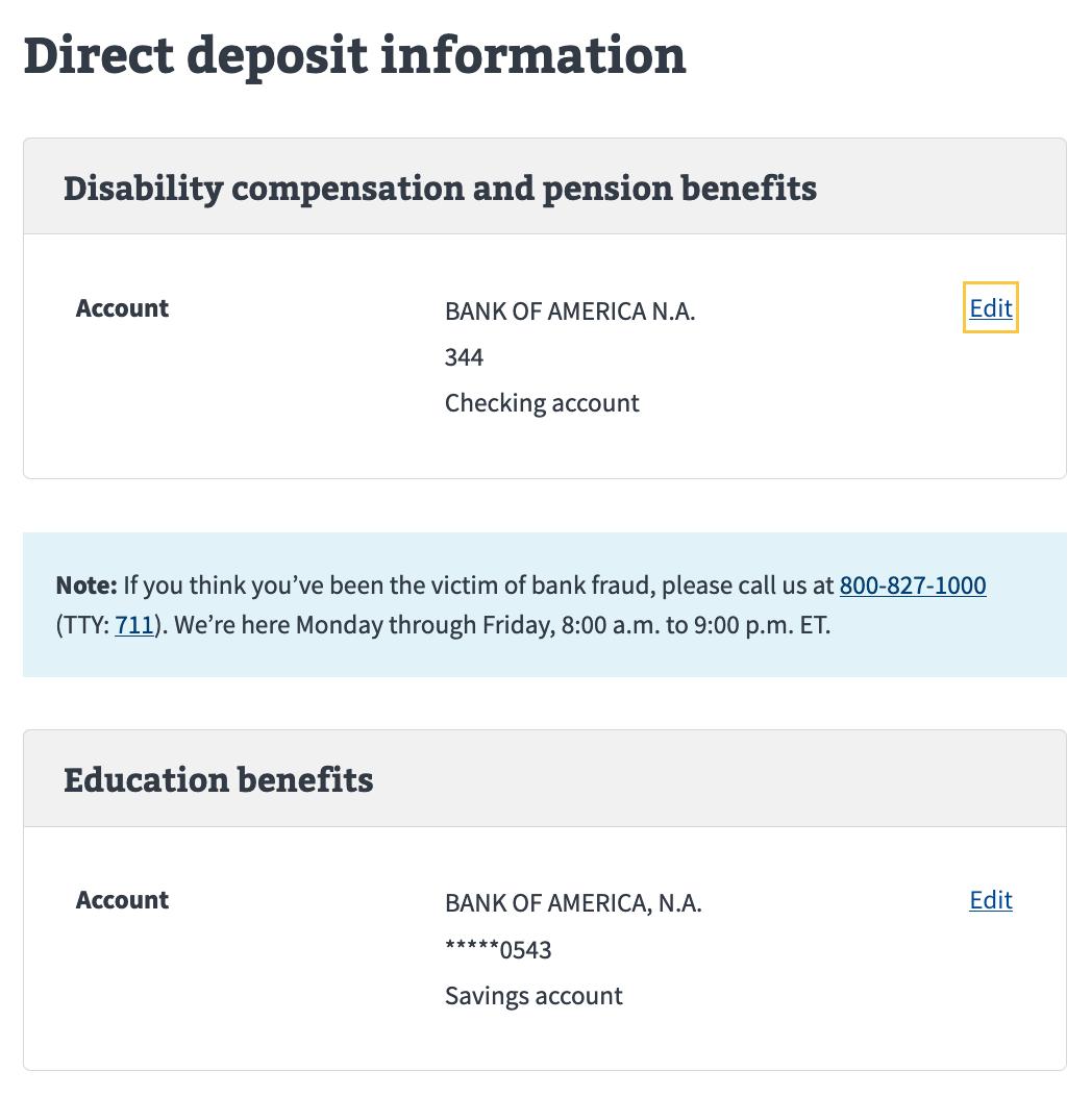 Update direct deposit