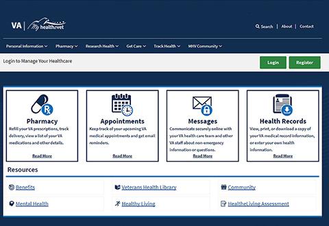 My HealtheVet web portal screen shot