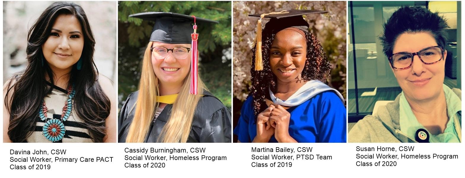 Headshots of four recent program graduates - left to right - Davina John; Cassidy Burningham; Martina Bailey; Susan Horne