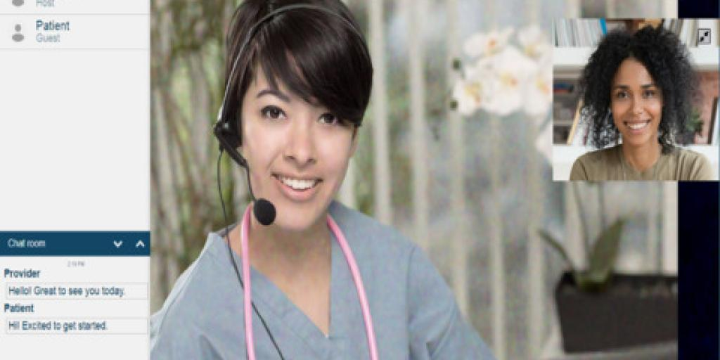 Medical worker is on screen conducting an online telehealth session.