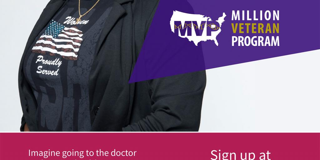 Gwendolyn, a woman Veteran patient with the Million Veteran Program with the future of medicine is in your genes banner.