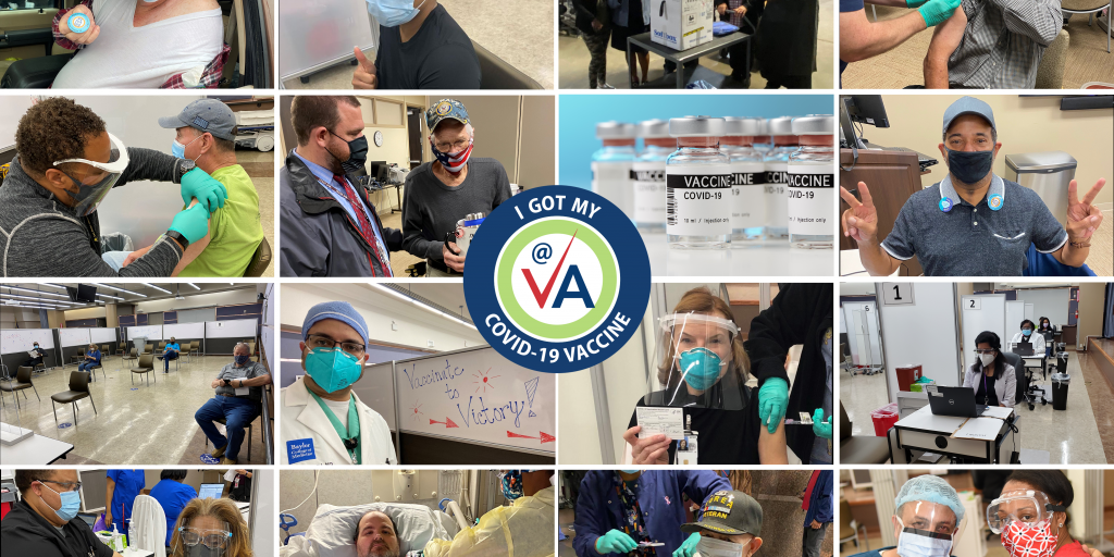 Collage of patients and staff getting vaccinated