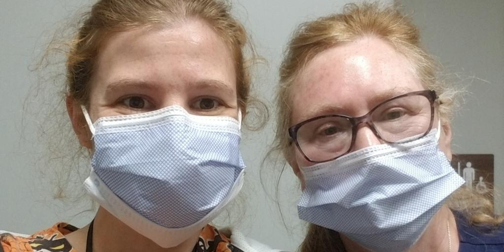 """From left, Krystal Earles, RN, and Debra """"Cindy"""" Peters, RN, from the Western North Carolina VA Health Care System have been working with the idea to use a white noise machine to drown out undesirable noises in hospitals to to improve their their patients' sleep and to decrease their anxiety."""