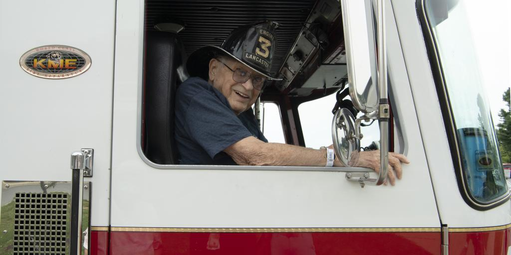 US Army Veteran and retired Lancaster Fire Department firefighter, Lyle Schaller, was all smiles when hospice staff coordinated a trip back in time for him.