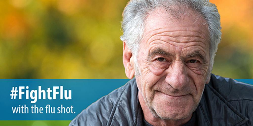 Picture of an elderly gentleman with a gray jacket on. The words #FightFlu with the flu shot are on a blue border.