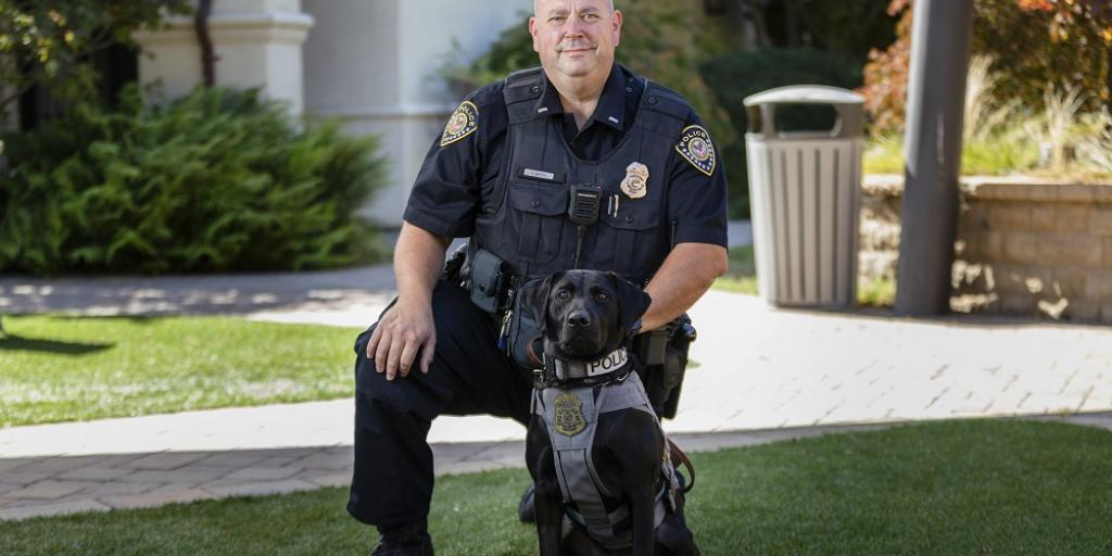 Atlas, VA Police Service's newest addition, and his handler