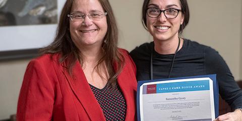 Interim Medical Center Director Barbara Forsha with I CARE Award winner Samantha Gyory