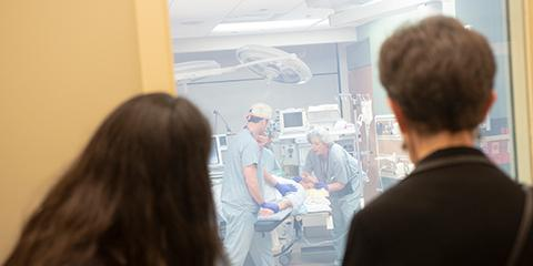 Grand opening guests view an emergence delirium simulation.
