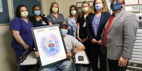 Navy Veteran Dale Shelton poses with his health care team at Overton Brooks VA Medical Center