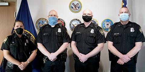 The departments newest Lieutenants Melanie Rininger, Harold Persson, Charles Bassett, and Warren Edward