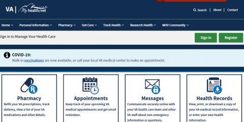 screenshot of the My HealtheVet website homepage