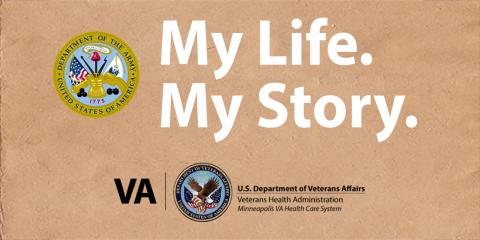 Graphic with tan background and the US Army seal; it reads My Life. My Story.