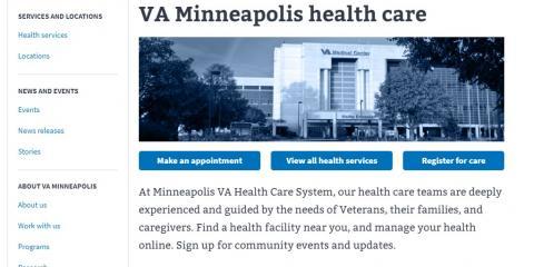 Minneapolis VA Health Care System website homepage screenshot