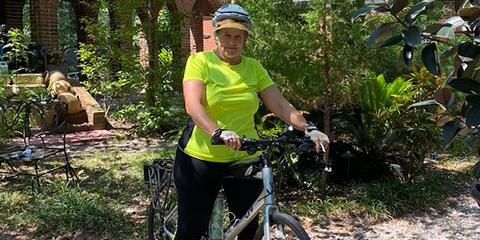 71-year-old U.S. Navy Veteran Liz Crotty won gold at the Virtual National Veterans Golden Age Games in the cycling competition. Photo provided by Liz Crotty.