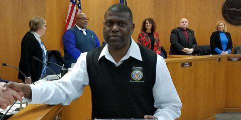 Bernard McLeroy, peer support specialist with the Myrtle Beach Community Based Outpatient Clinic's Mental Health service, poses with his award from the Myrtle Beach City Council for his service to the community and Veterans. (Courtesy photo)
