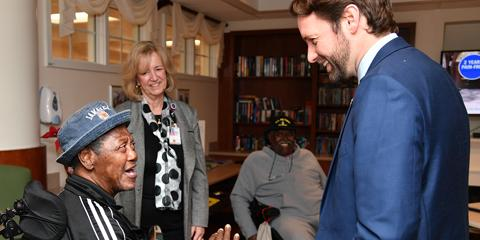 Congressman Joe Cunningham meets with Community Living Center residents during a tour of the Ralph H. Johnson VA Medical Center Feb. 1. The CLC recently received a 5-star rating for quality measures and staffing. (Photo by James Arrowood)