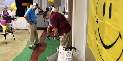 Veterans enjoyed a putting competition sponsored by PGA Hope at the Cancer Expo and Celebration on Sept. 10. Photo by James Arrowood.