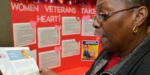 Veteran Linda Henry learns about heart health at Charleston VAMC.