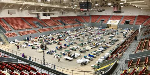 The Monroe Civic Center was one of the first shelters established.