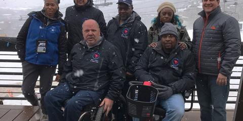Team Charleston at the National Disabled Winter Sports Clinic in Aspen Colorado. (Back row from left to right: Iayne Brown, Harold Clark, Joe Cooler, Leslie Williams, Scott Isaacks; front row from left to right: David Bradbury, Joey Williams.) (Courtesy Photo)
