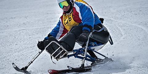 Charleston VAMC Chief of Prosthetics David Bradbury skis down the mountains at the 2018 Winter Sports Clinic. He has attended the Winter Sports Clinic several times as an athlete. Photo contributed by David Bradbury.