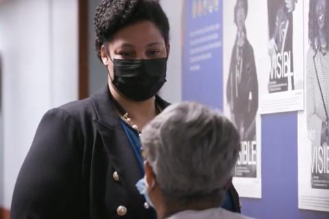 Dr. Chelsea Cosby, VA women's health deputy director, talks with a clinician