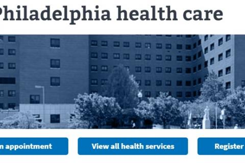 Image of VA Philadelphia health care website
