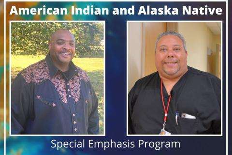 Trian Hammie and Corey Newman, employees at Central Virginia VA Health Care System, look forward to attending upcoming ceremonial sweats and recognizing National Native American Heritage Month.