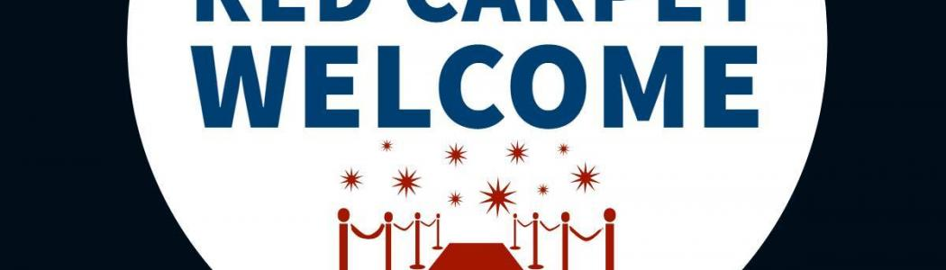 graphic with red carpet that says red carpet welcome