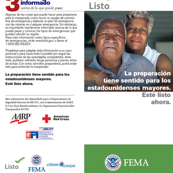 Cover Image for Emergency Preparedness Materials in Spanish (Families, Pets, Seniors, Disabled, Businesses) album