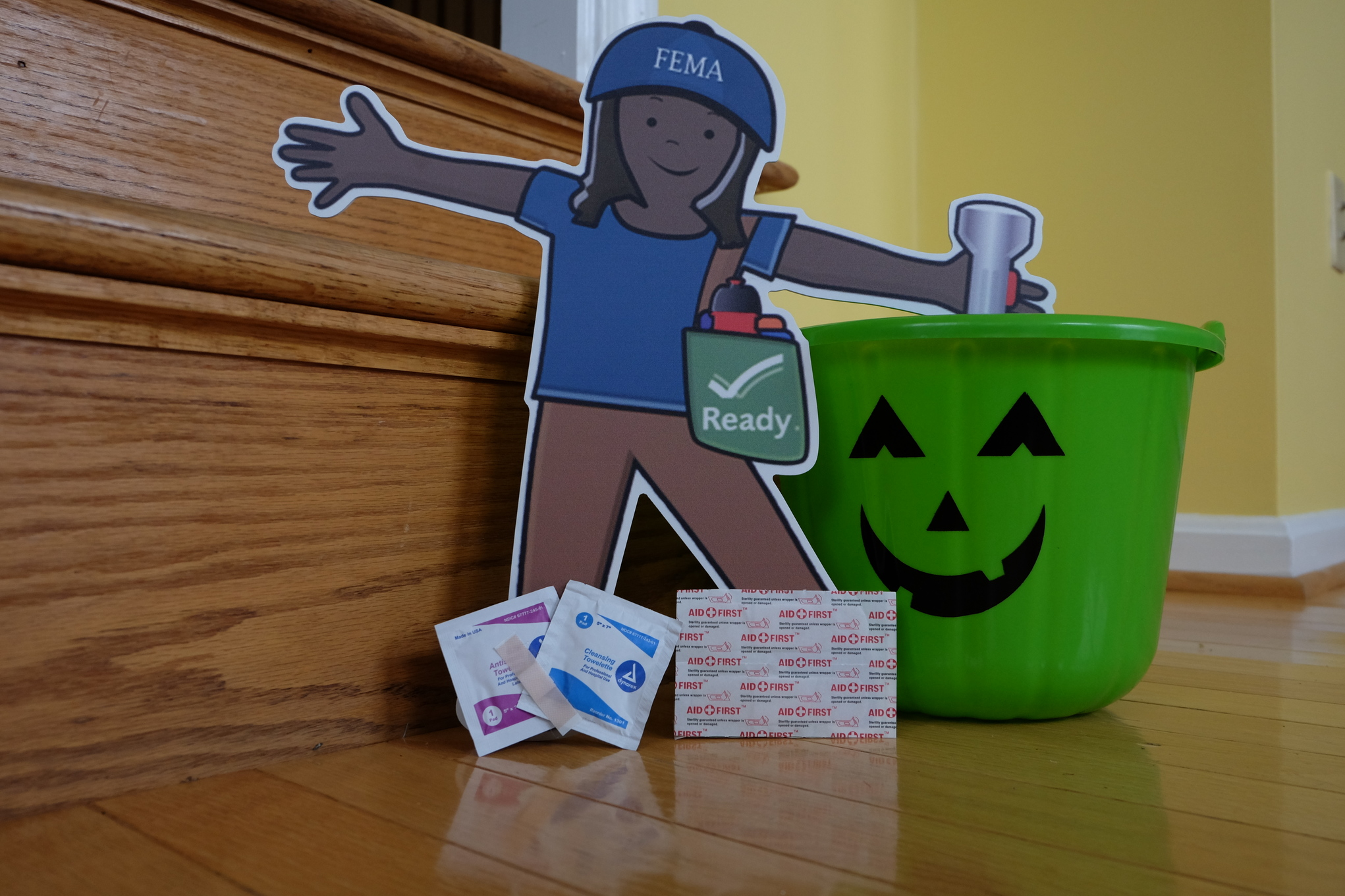 Washington, D.C., October 30, 2013 -- Flat Stella shows some basic first aid supplies that should be in your emergency supply kit.