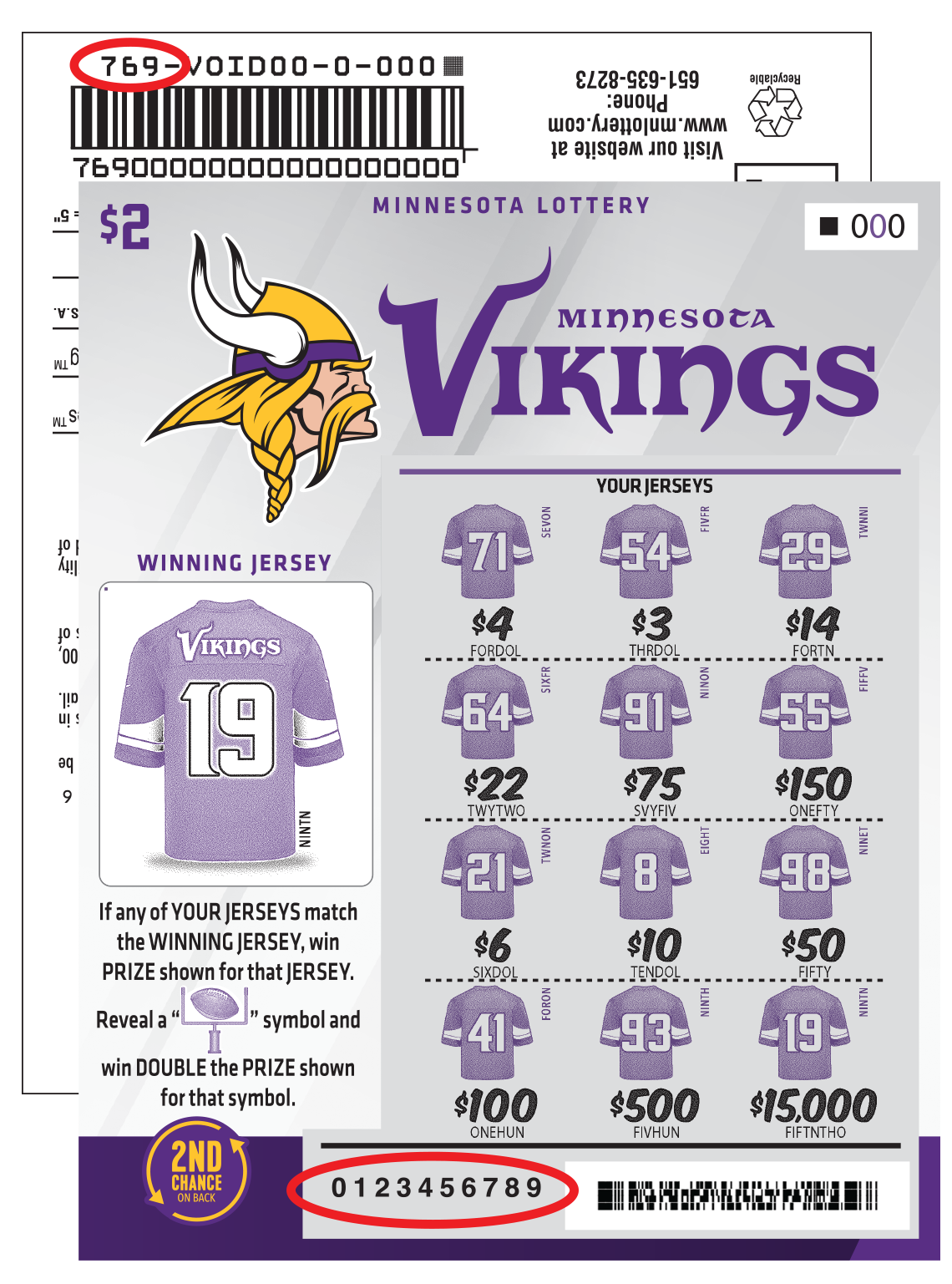 Vikings 2Nd Chance 2 Ticket