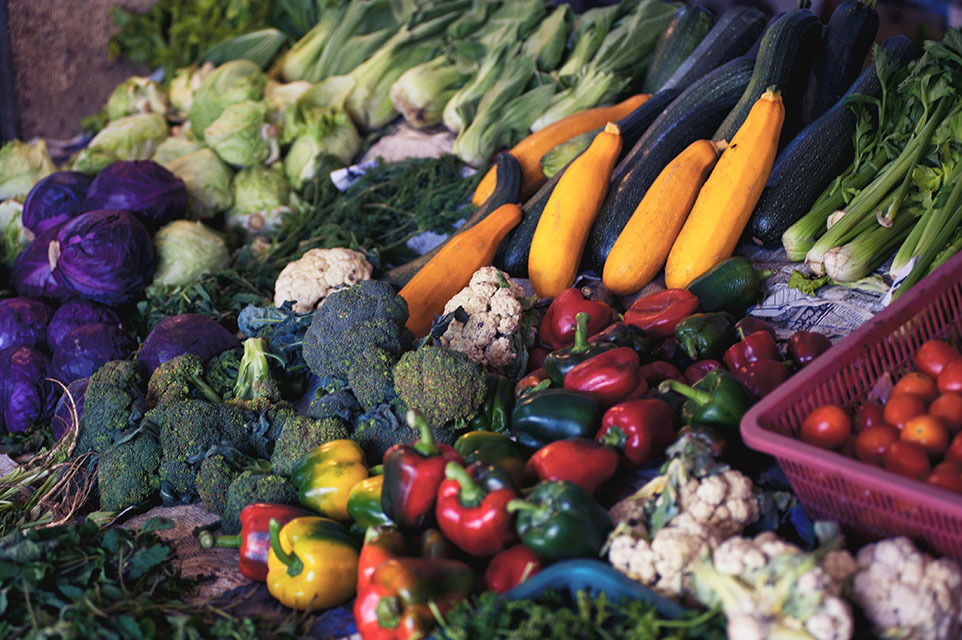 Array of fresh vegetables