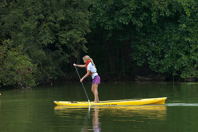 Woman stand up paddleboarding with trees in the background