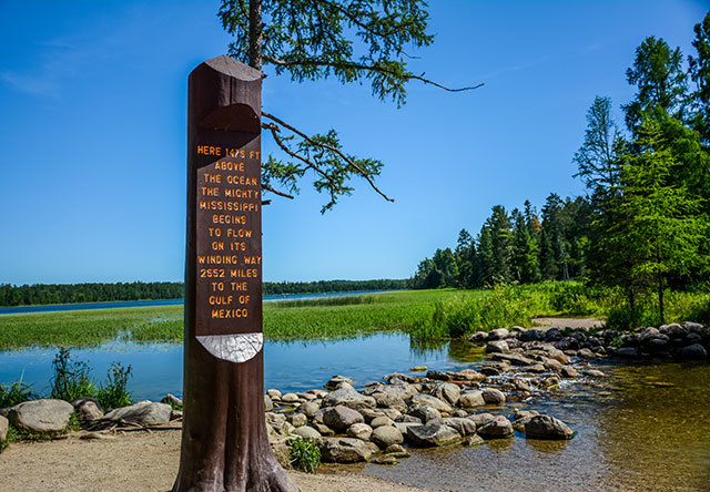 """Sign in Itasca State Park """"Here 1475 feet above the ocean, the mighty Mississippi begins to flow on its winding way 2552 miles to the Gulf of Mexico"""""""