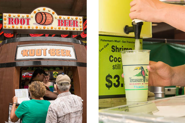 Split image of a root beer barrel stand and a cup being filled with lemonade