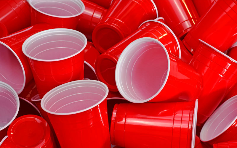 Pile of red plastic cups